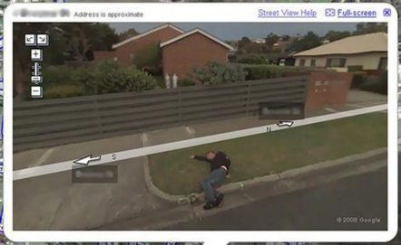 Down and out ... Bill pictured on Google's Street View mapping tool.