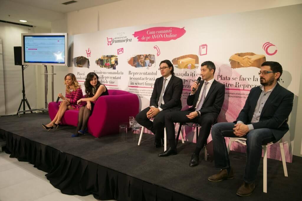 Raluca Kisescu, Alina Cinciulescu (Online Manager AVON), Bogdan Muraru (Directional National de Vanzari AVON), Razvan Diratian, Dorin Boerescu (2Parale)