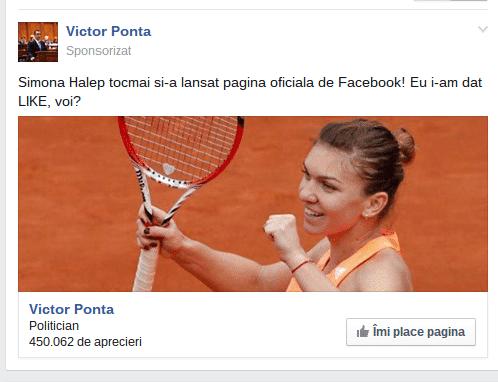 Ponta Facebook Simona Halep