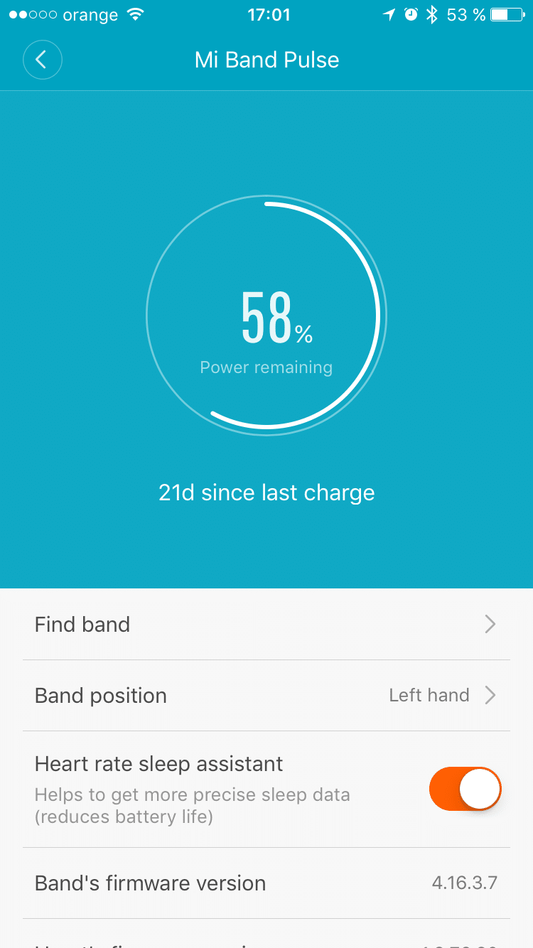 Autonomie bratara fitness Mi Band Pulse