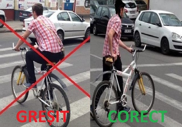 Biciclist pe trecerea de pietoni