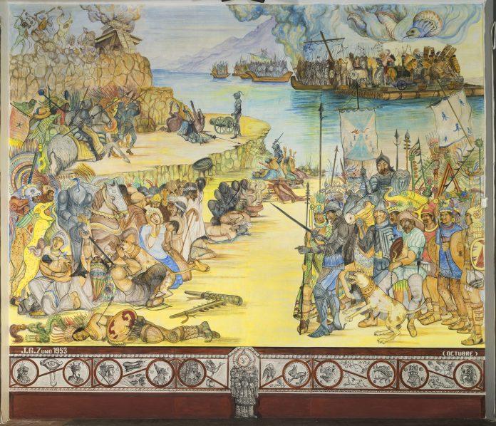 """Mural """"La Conquista de la Nueva Galicia"""", de Guadalupe Zuno"""