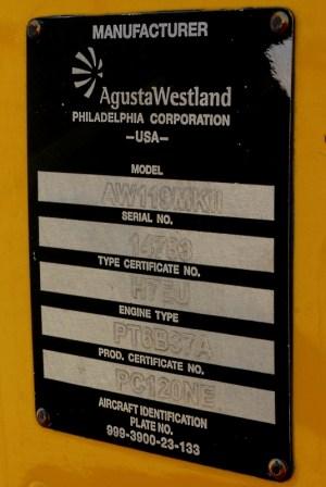 Dando fe de la multinacionalidad de AgustaWestland, el AW119Ke es construido en Philadelphia (foto: Carlos Ay).