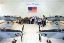 Recepción de los cuatro primeros Texan II en Wichita (foto: FAA)