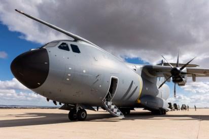 El A400M en la Plataforma Militar Sur de la Base Aérea de Zaragoza (foto: Miguel Ángel Blázquez Yubero).