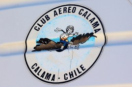 """Calama flyers"": Calama Air Club badge on Saratoga CC-NEA's tail (photo: Carlos Ay)."