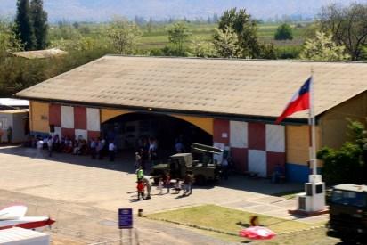 """""""Home in Los Andes"""": Los Andes Air Club distinctive hangar (photo: Carlos Ay)."""