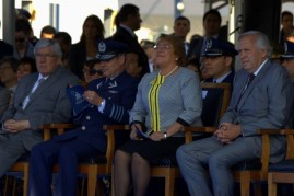 Chilean President Michelle Bachellet attended FIDAE 2014's opening ceremony with (from right to left) Defence Minister Jorge Burgos, FACH Commander-in-Chief, General Jorge Rojas and House of Representatives Second Vicepresident, Rodrigo González (photo: Fernando Puppio).