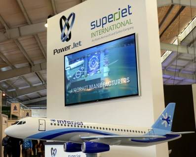 Alenia Aermacchi and Sukhoi exhibited the SuperJet single-aisle airliner in their individual and combined booths (photo: Carlos Ay).