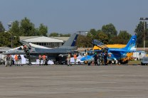 FACH F-16A Fighting Falcon 744 and FAA IA-63 Pampa II E-820 preparing for demonstration flights (photo: Carlos Ay).