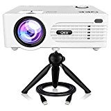 QKK 2200lumen Mini Projector, Full HD LED Video Projector 1080P Supported, 50,000 Hour Lamp Life with 170