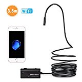 Depstech Wireless Endoscope, WiFi Borescope Inspection Camera 2.0 Megapixels HD Snake Camera for Android and IOS Smartphone, iPhone, Samsung, Tablet - Black(11.5FT)