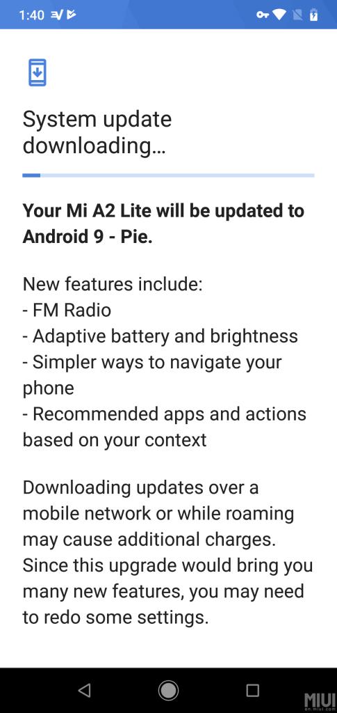 Xiaomi Mi A2 lite pie update