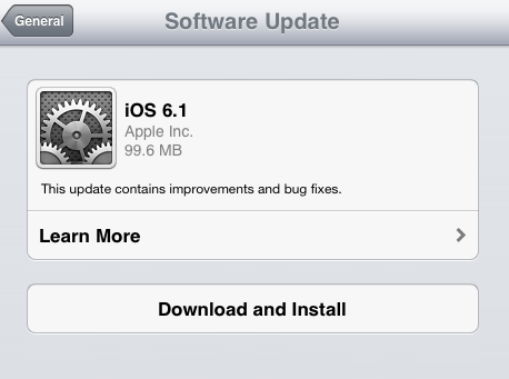 apple ios 6.1 software update