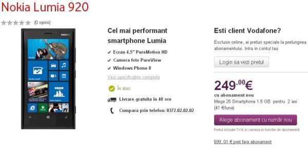 Nokia Lumia 920 oferat vodafone