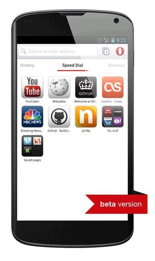 browserul Opera Webkit beta pentru Android