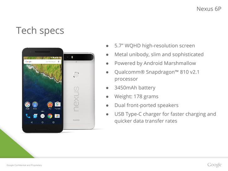Specificatiile telefonului Nexus 6P