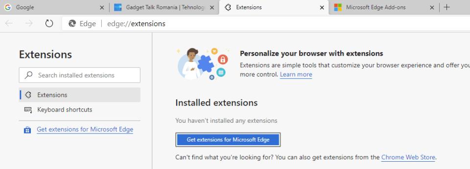 Extensii Edge vs Chrome