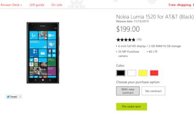 Nokia Lumia 1520 pre-order page taken down.