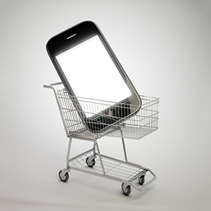 Buying-a-phone-shopping-trolley-illustration