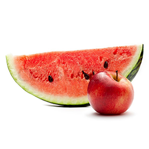 4132651-watermelon-and-red-apple-on-the-white-background