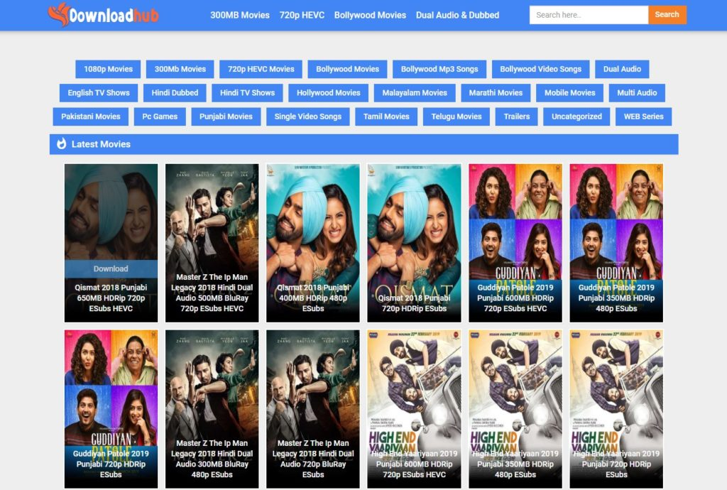 DownloadHub Website 2021: Bollywood, Hollywood Movies Download 480p, 720p, 1080p