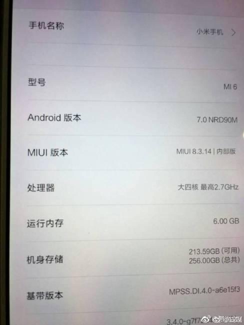 Xiaomi Mi 6 specs
