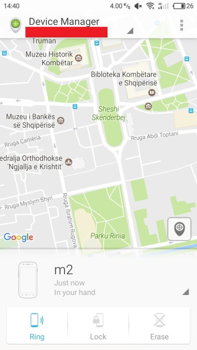 Android Device Manager find phone on a map