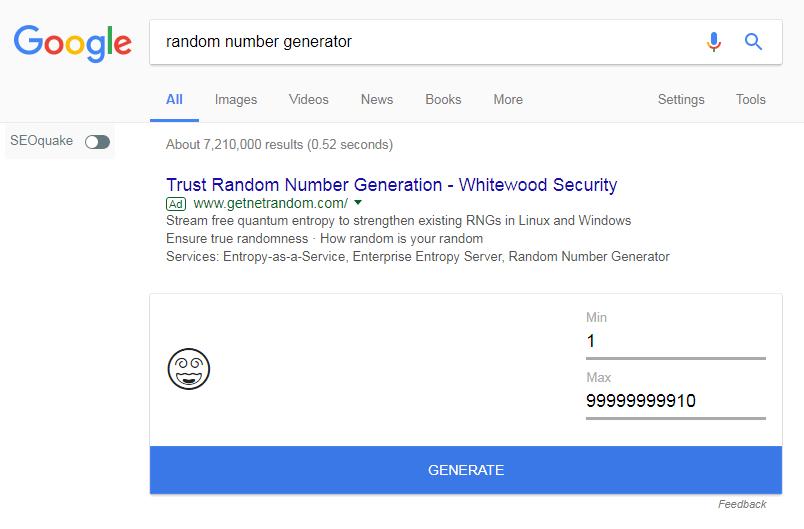 Random Number Generator Google