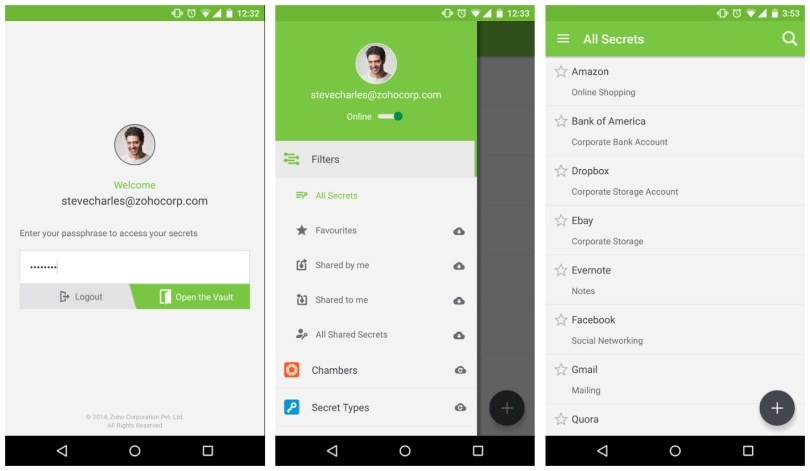 Zoho Vault Android Password Manager app