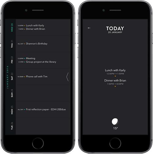 Moleskine Timepage calendar app for iPhone