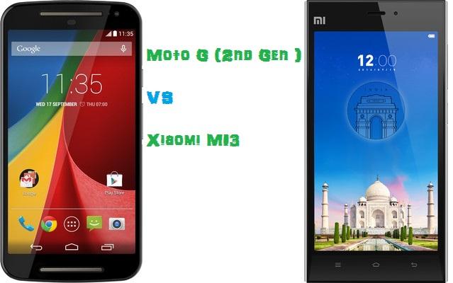 Moto G(2nd gen) Vs Xiaomi Mi3 comparison