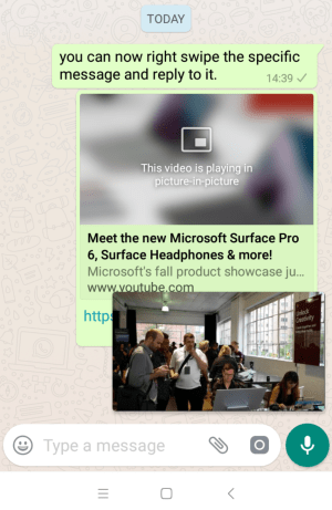 How to play Youtube, Facebook videos in PIP mode inside whatsApp
