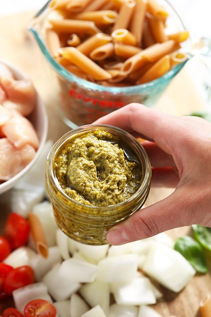 Pesto in a jar.