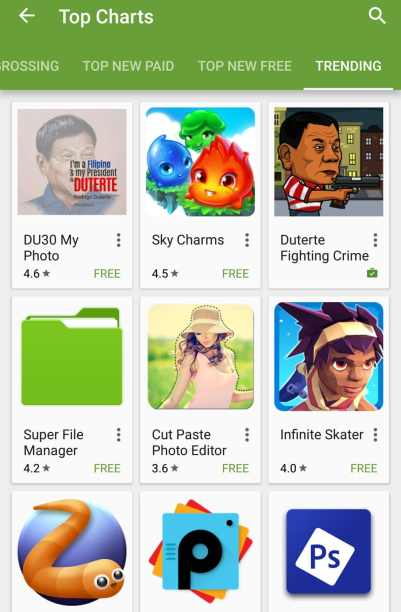 Duterte Fighting Crime trending Google Play