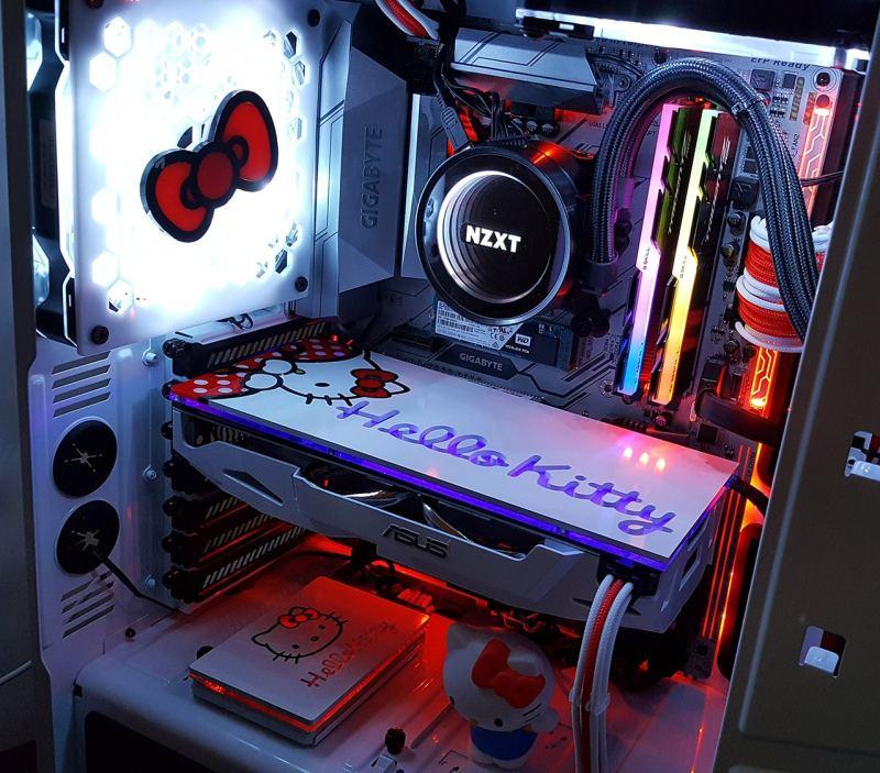 Inside a custom Hello Kitty PC case mod!