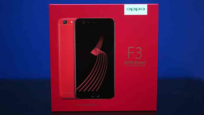 Red OPPO F3 in box