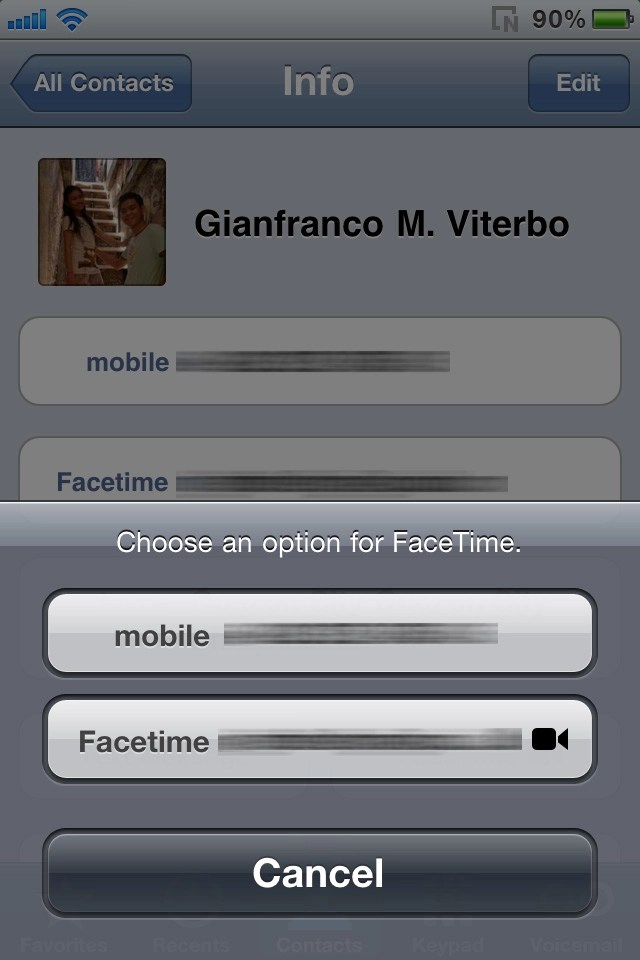 Placing a Facetime call via Contacts