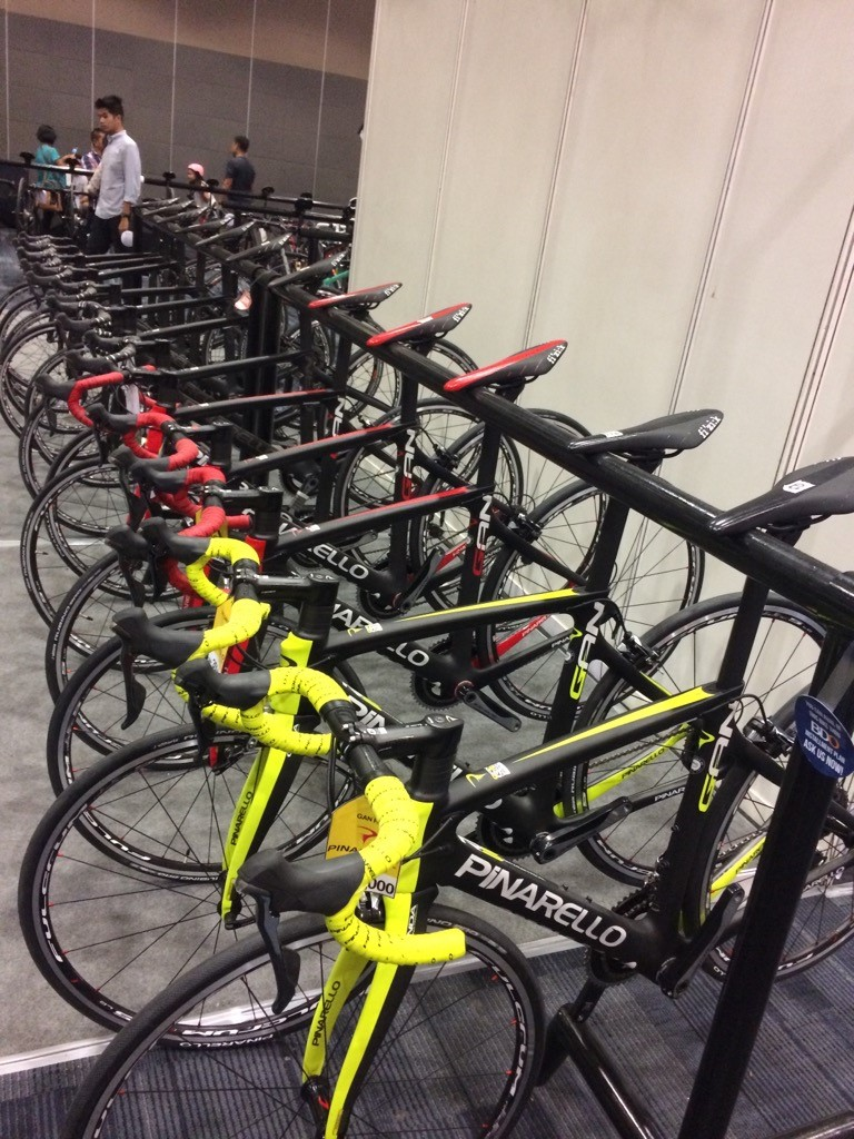 Rows and rows of high-end full-carbon roadbikes that'll make any cyclist drool.