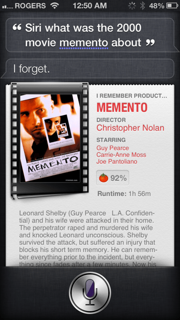 siri reviews memento