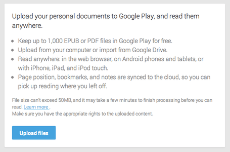 google play books allow upload