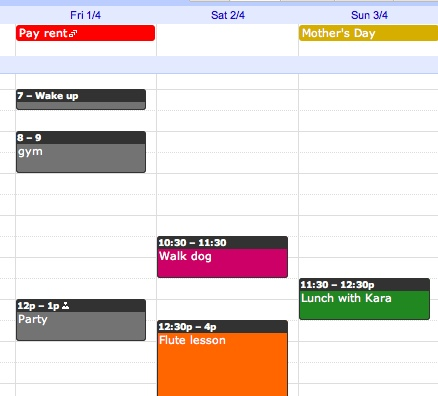 Google calendar colors