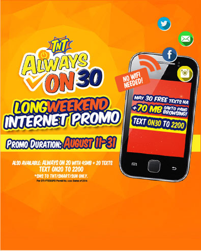f16b9506b0 The new Smart Prepaid Always On 10 15 20 30 50 99 199 299 499 995 1799 2499  promo gives you the capability of being always online.