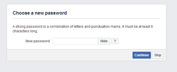 Facebook username and password change