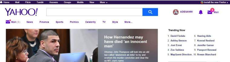 Yahoo mail account homepage