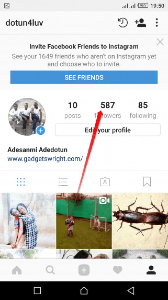 Instagram followers Notifications