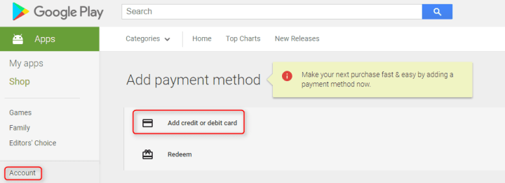 Add Credit or Debit Card to Google Play Store