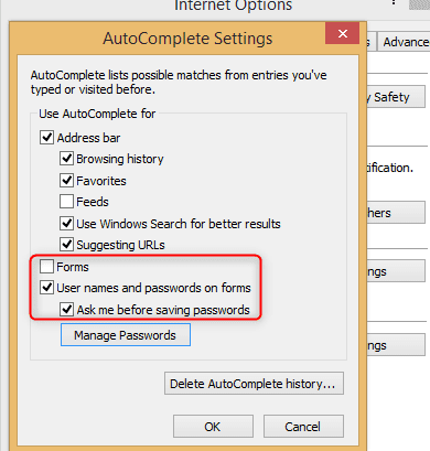 IE Password manager
