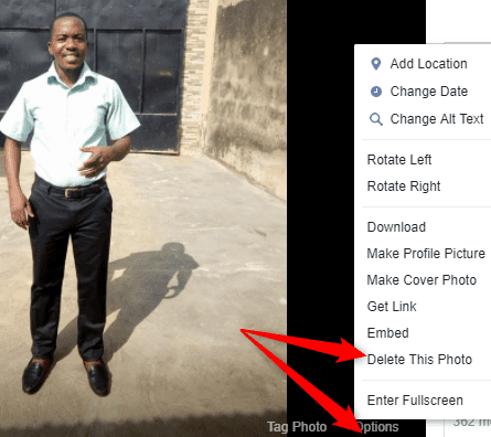 How to delete Photo from Facebook album