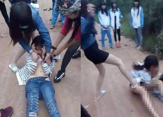 Estudante adolescente é despida e espancada por grupo de jovens em vídeo chocante